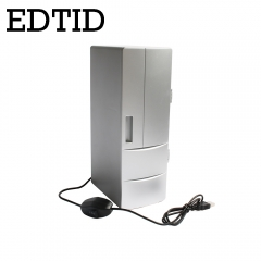 EDTID USB Mini Fridge Cooling /Heat refrigerator Portable PC Car Beer Cooler Beverage Drink Freezer silver 26cm x 18cm x 14cm