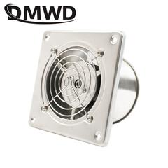 DMWD Stainless Steel 4 Inch Exhaust Fan 4'' Toilet Kitchen Bathroom Hanging Wall Window Duct Fan silver