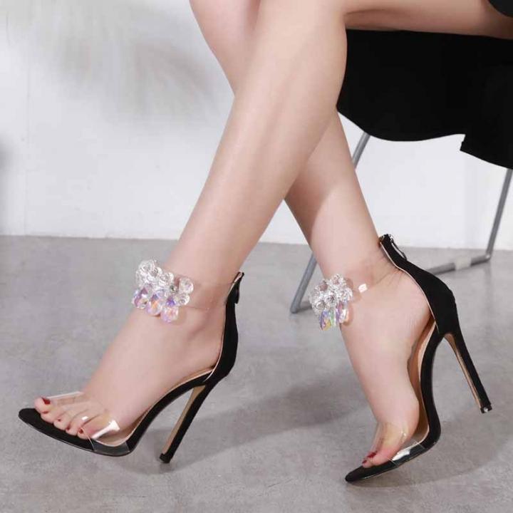 46c35685c7e76 Super beautiful big diamond high-heeled sandals fashion show black ...