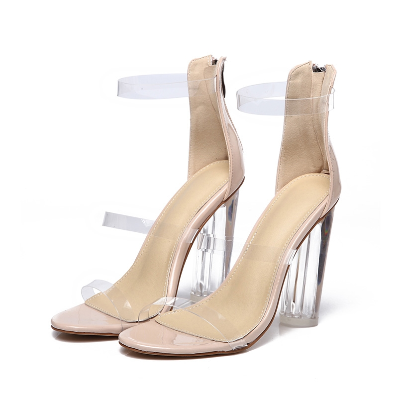 0c51a54a852 Rome waterproof transparent high heels sandals r new women crystal thick  with women s shoes apricot 37  Product No  1447210. Item specifics  Brand