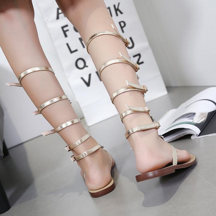 f6ac7714240610 Flat Bottom Large Rhinestone Flange Metal Chain Europe and America Open Toe  Diamond Sandals Golden 37