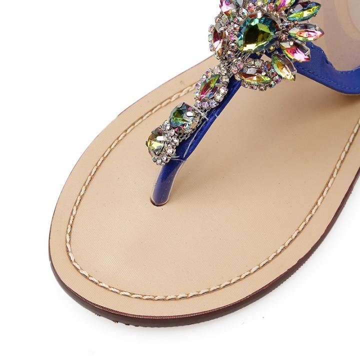 42dbe78efa8c Flat Bottom Large Rhinestone Flange Metal Chain Europe and America Open Toe  Diamond Sandals blue 37