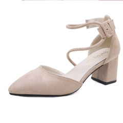 Bracelet strap suede thick high-heeled pointed mouth shallow single shoes apricot 37