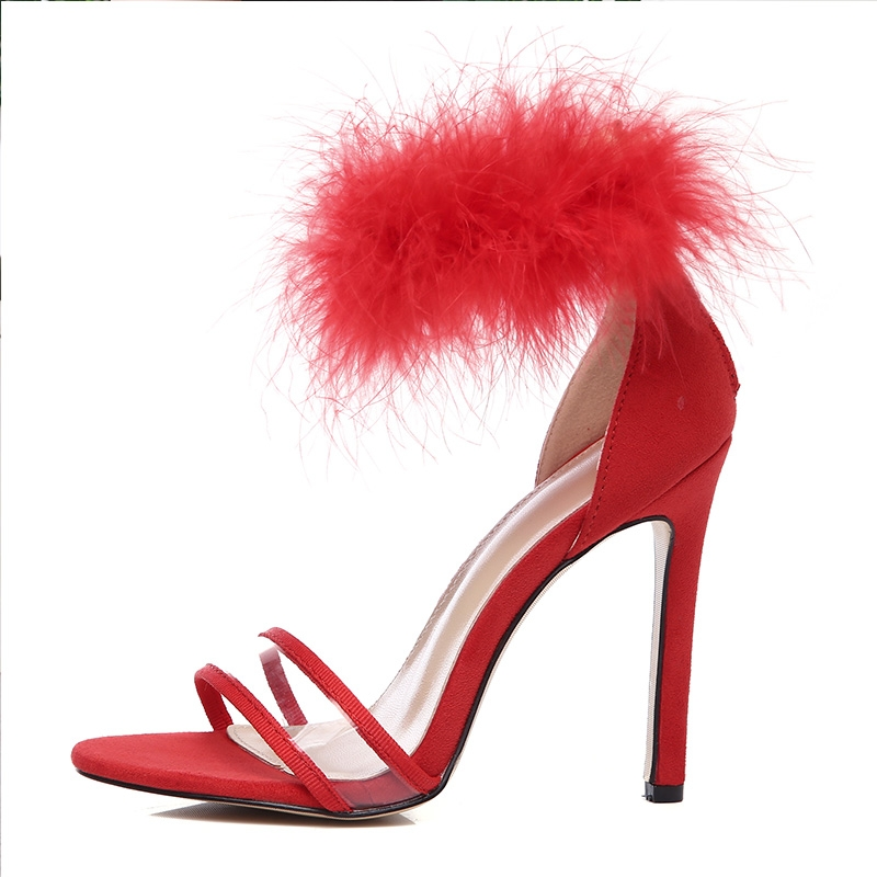 7bcc5882da1 Sandals shoes summer fine with open-toed belt sexy nightclub rabbit hair  high heels red 39