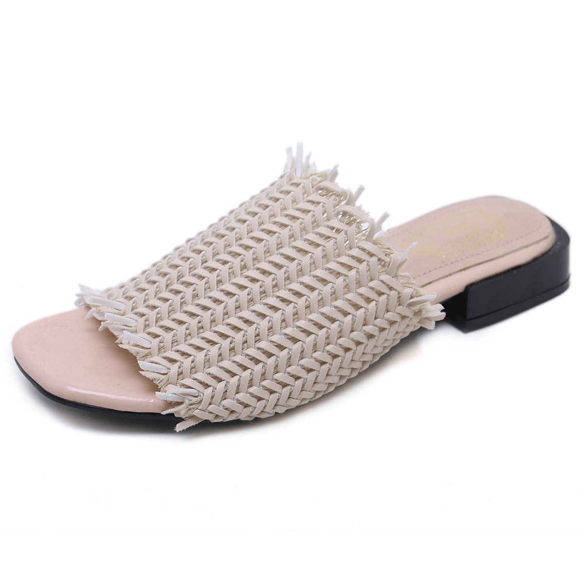 df1e77b60b4aa Designer shoes European and American fashion slipper straw flat lazy ...