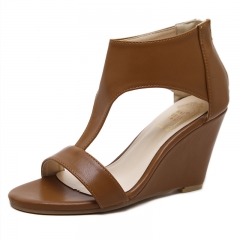 The new wedge joker high-heeled shoes sandals brown 36
