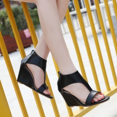The new wedge joker high-heeled shoes sandals black 36