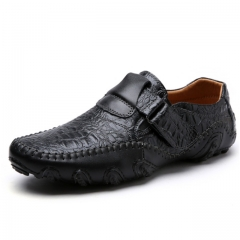 Luxury Casual Shoes Men Loafers Genuine Leather Flat 8899 black 38