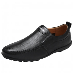 Luxury Casual Shoes Men Loafers Genuine Leather Flat7607 Black 38