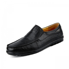 Luxury Casual Shoes Men Loafers Genuine Leather Flat 8019 black 38
