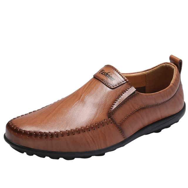 Luxury Casual Shoes Men Loafers Genuine Leather Flat7607 brown 44