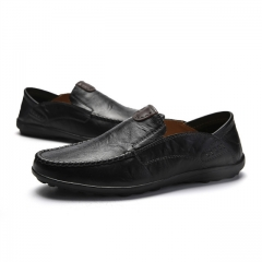 Luxury Casual Shoes Men Loafers Genuine Leather Flat 9082 Black 38