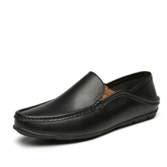Luxury Casual Shoes Men Loafers Genuine Leather Flat 8802 black 37
