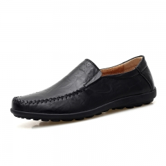 Luxury Casual Shoes Men Loafers Genuine Leather Flat 1687 black 38