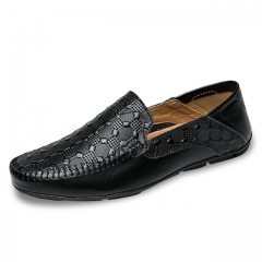 Luxury Casual Shoes Men Loafers Genuine Leather Flat 1807 black 38