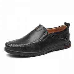 Luxury Casual Shoes Men Loafers Genuine Leather Flat 1858 black 6