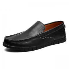 Luxury Casual Shoes Men Loafers Genuine Leather Flat 9038 black 38