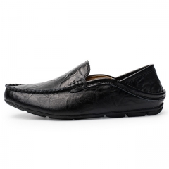 Luxury Casual Shoes Men Loafers Genuine Leather Flat 20138 black 38