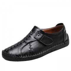 Luxury Casual Shoes Men Loafers Genuine Leather Flat 7808 black 38