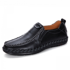 Luxury Casual Shoes Men Loafers Genuine Leather Flat 702 black 38