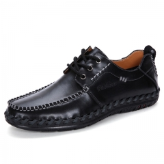 Luxury Casual Shoes Men Loafers Genuine Leather Flat 701 black 38