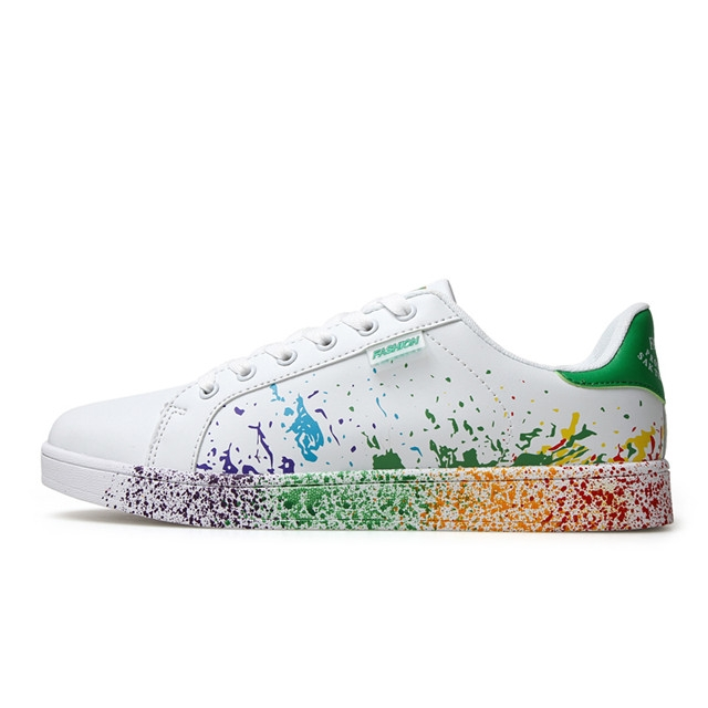 For Valentines Sneakers  Outdoor Sports Graffiti Trainner Shoes Soft flat Footwear YX800 White and Green 44