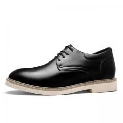 Simple Style Quality Men Oxford Shoes Lace-up Brand Men Formal Shoes Men Leather Wedding Shoes 5678 black 38