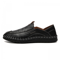 Luxury Casual Shoes Men Loafers Genuine Leather Flat 9085 black 38