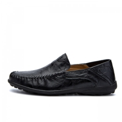 Luxury Casual Shoes Men Loafers Genuine Leather Flat 8008 black 38