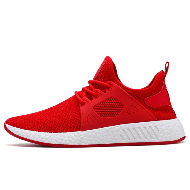 Fashion  Fly Mesh Breathable Light Soft High help Breathable Mens Shoe Male Trainers Sneakers 1887 Red 39