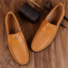 Luxury Casual Shoes Men Loafers Genuine Leather Flat 1858-2 yellow 38