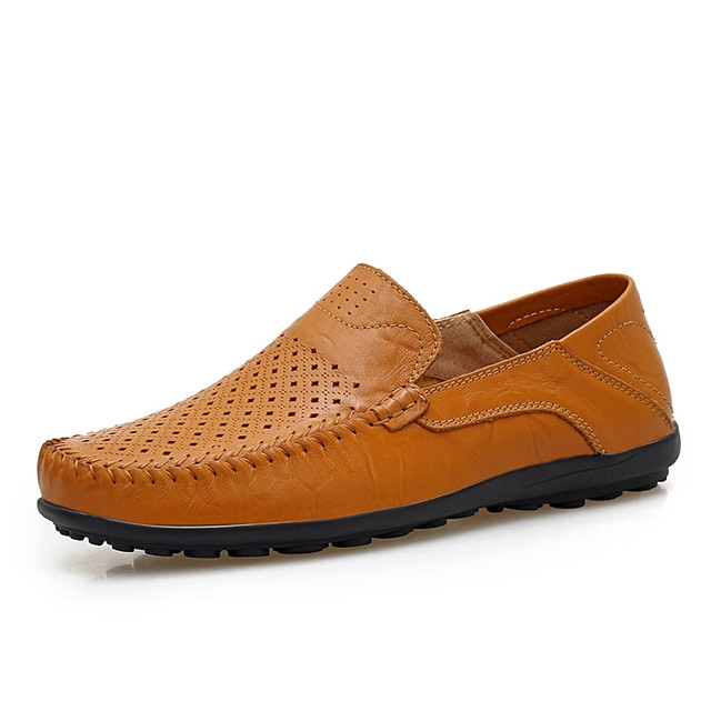 Luxury Casual Shoes Men Loafers Genuine Leather Flat 8008-2 yellow 38