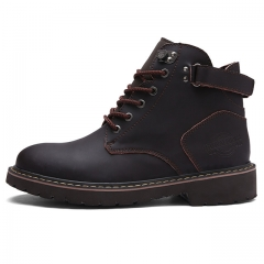 New Long Men Klight Flat non-slip Heel Boots Fashion British men's Shoes Brand907 Brown 38