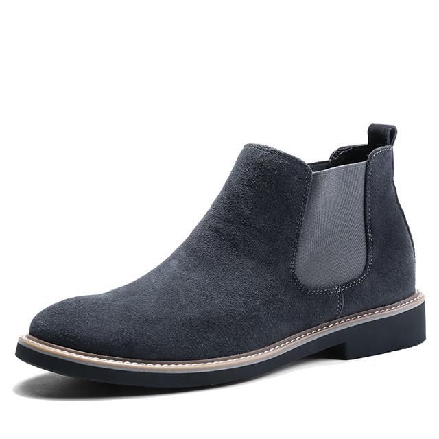 British Leather Men's Shoes Retro Chelsea Style Martin leyo Men's Boots Fashion Brand C510 gray 44