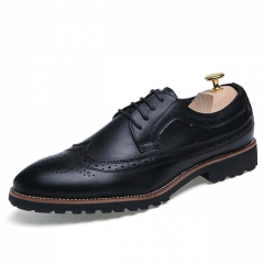 Bullock carved men's shoes Men's England dress shoes business office fashion men's shoes8610 black 38 leather