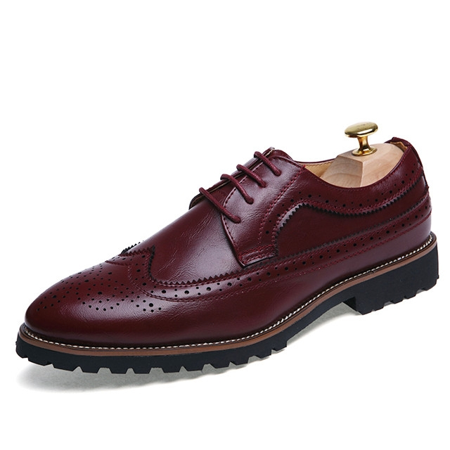 Bullock carved men's shoes Men's England dress shoes business office fashion men's shoes8610 Red 43 leather