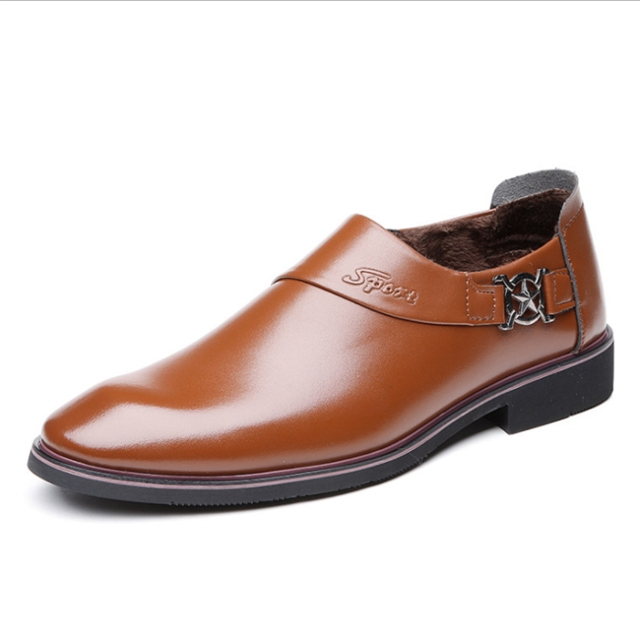 Autumn men's business dress shoes smooth set toe head tide Lok Fu shoes XL 39-45 men's shoes 0557 brown 45 leather