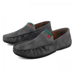 2018 spring lazy shoes wild casual shoes trend leather shoes set foot men's shoes peas shoes708 black 39