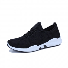 Fashionable men's casual running shoes breathable and flat student sneakers  CN005 black 39
