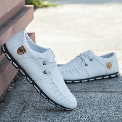 2018 new summer England small leather shoes peas casual shoes wild Korean fashion shoes white 41