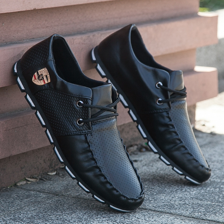 2018 new summer England small leather shoes peas casual shoes wild Korean fashion shoes black 40