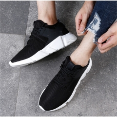summer breathable tide shoes 2018 new Korean version of the wild trend casual sports shoes Black and white 44