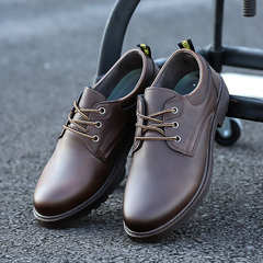2018 men's shoes fashion breathable PU leather shoes casual tooling shoes England leather shoes Dark brown 44