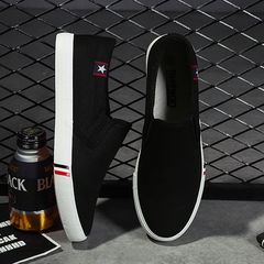 Summer men's canvas shoes men and women couple small white shoes Korean version of small white shoes black 35