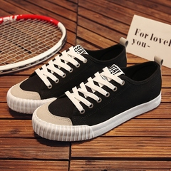New canvas shoes men's shoes lovers casual shoes Korean version of the trend of wild low-top shoes black 35