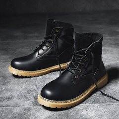 2018 Wolf Boots Autumn and Winter Retro Martin Boots Men's Army Boots Trending Tool Boots black 39