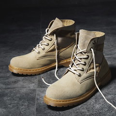 2018 Wolf Boots Autumn and Winter Retro Martin Boots Men's Army Boots Trending Tool Boots light tan 39
