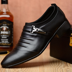 2018 shallow mouth business casual men's leather shoes British fashion pointed big size men's shoes black 38 pu leather