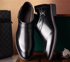 Autumn men's business dress shoes smooth set toe head tide Lok Fu shoes XL 39-45 men's shoes 0557 black 39 PU leather