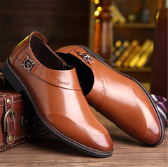 811 Autumn men business dress shoes smooth set toe head tide Lok Fu shoes XL 39-45 men's shoes 0557 brown 45 PU leather